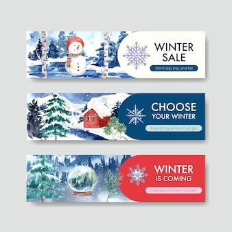 Modèle de bannière sertie de soldes d'hiver pour faire de la publicité dans un style aquarelle