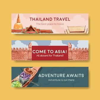 Modèle de bannière sertie de voyage en thaïlande pour faire de la publicité dans un style aquarelle