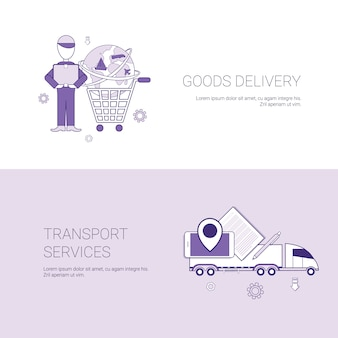 Modèle de bannière services web de livraison et de transport de marchandises