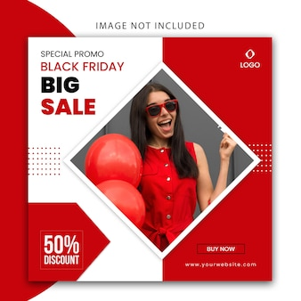 Modèle de bannière de site web et de publication de médias sociaux de couleur rouge et blanc moderne pour la vente de mode