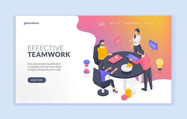 Modèle de bannière de site web de travail d'équipe efficace