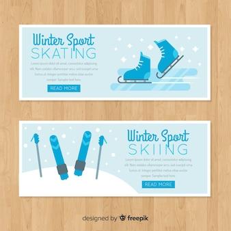 Modèle de bannière de ski de patinage