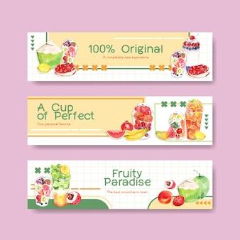 Modèle de bannière avec des smoothies aux fruits