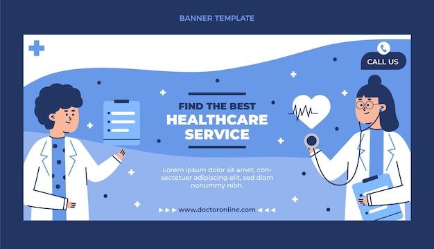 Modèle de bannière de soins de santé illustré