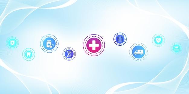 Modèle de bannière de soins de santé minimal avec des icônes plates. concept de médecine de santé. bannière de pharmacie de technologie d'innovation médicale. illustration vectorielle.