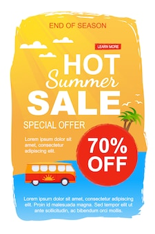 Modèle de bannière spécial ventes d'été chaud offre pour la fin de la saison. circulaire promotionnelle proposant une réduction de 70% sur les circuits en bus