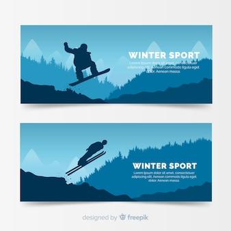 Modèle de bannière de sport d'hiver