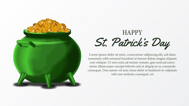 Modèle de bannière de st. patrick day avec pot et pièce d'or