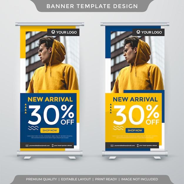 Modèle de bannière de stand minimaliste nouvelle arrivée