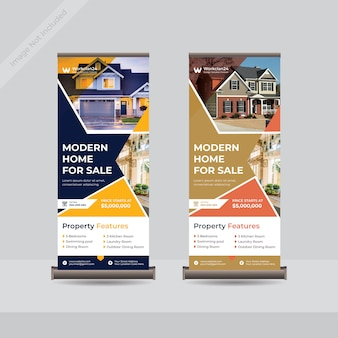 Modèle de bannière de stand de roll up immobilier