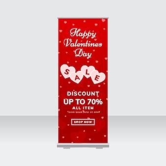 Modèle de bannière de stand de vente saint-valentin