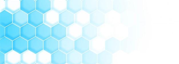 Modèle de bannière de structure de molécule bleue