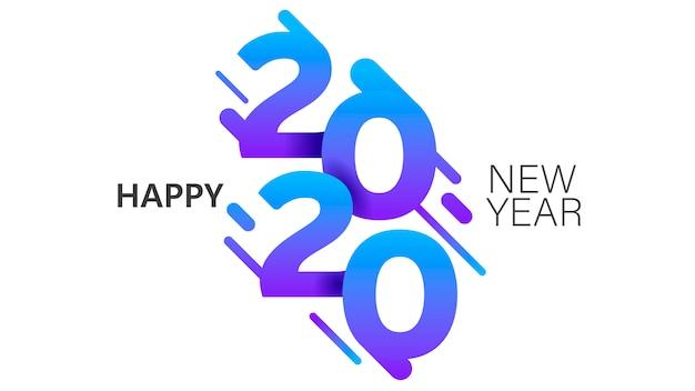 Modèle de bannière de style insta 2020 nouvel an mise en page minimaliste de carte postale de noël