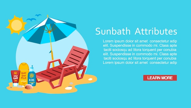 Modèle de bannière de sunbath summer time vacation vacation