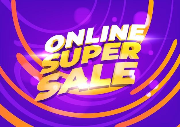 Modèle de bannière de super vente en ligne. mise en page pour les achats en ligne, les produits, les promotions, le site web et la brochure. illustration vectorielle.
