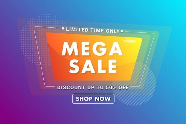 Modèle de bannière de super vente neon vibrant vecteur premium