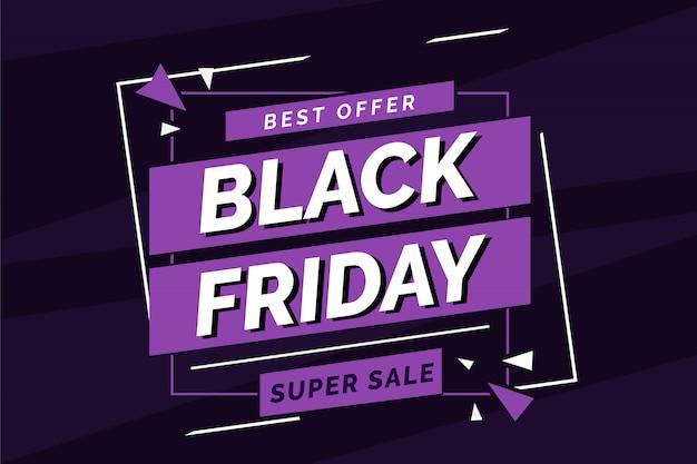 Modèle de bannière super vente vendredi plat noir violet