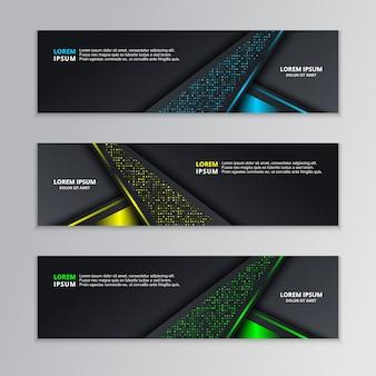 Modèle de bannière techno dark glowing