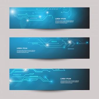 Modèle de bannière de technologie futuriste abstraite.