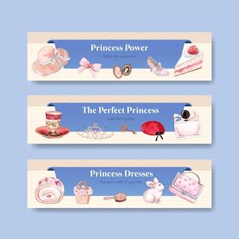 Modèle de bannière avec tenue de princesse, style aquarelle