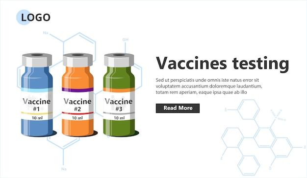 Modèle de bannière de test de vaccins.