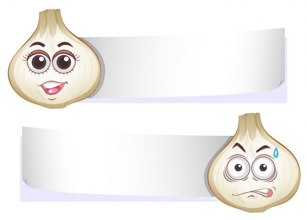 Modèle de bannière avec des têtes d'oignon