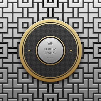 Modèle de bannière de texte rond sur fond métallique argent / platine avec un motif géométrique homogène. élégant style de luxe.