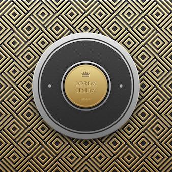 Modèle de bannière de texte rond sur fond métallique doré avec un motif géométrique transparent. élégant style de luxe.
