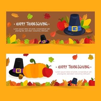 Modèle de bannière de thanksgiving design plat