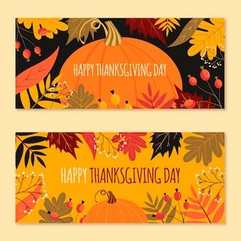Modèle de bannière de thanksgiving dessiné à la main