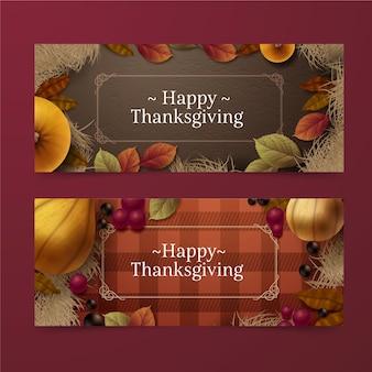 Modèle de bannière de thanksgiving réaliste