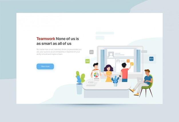Modèle de bannière de travail d'équipe pour site web