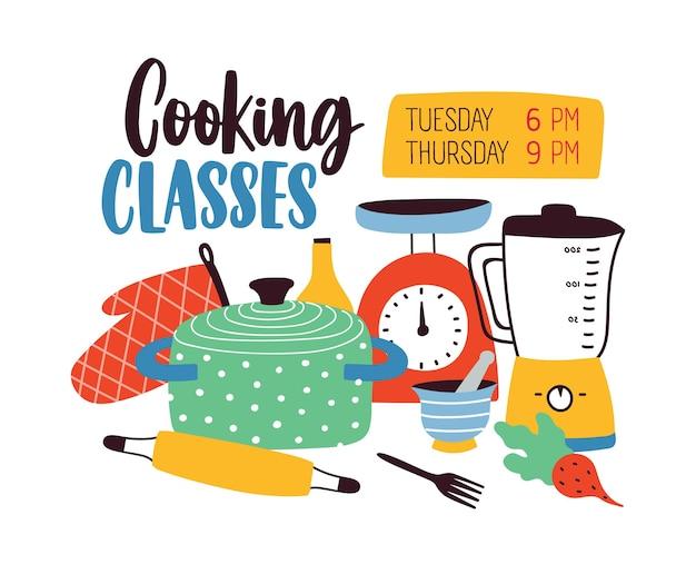 Modèle de bannière avec ustensiles de cuisine ou ustensiles de cuisine pour la cuisson ou la préparation des aliments.