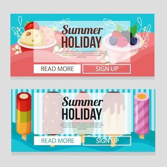 Modèle de bannière de vacances été mignon avec illustration vectorielle du thème de la crème glacée