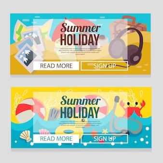 Modèle de bannière de vacances été mignon avec illustration vectorielle de plage thème