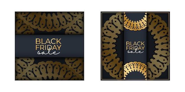 Modèle de bannière de vacances pour la vente du vendredi noir bleu foncé avec ornement géométrique en or