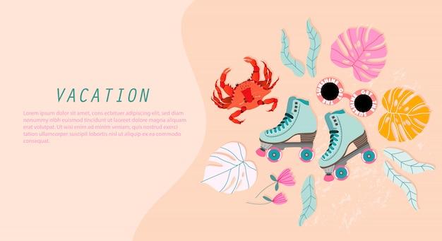 Modèle de bannière de vacances sumer. conception de bannière web couleur pastel doux avec des éléments dessinés à la main. patins à roulettes, crabe, feuilles de monstera et fleurs tropicales. concept d'été. design moderne pour une utilisation web