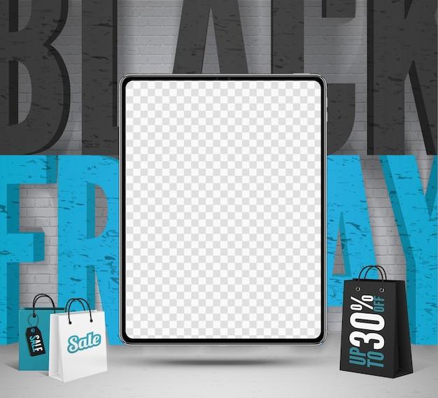 Modèle de bannière de vecteur de vente de comprimés du vendredi noir. gadget portable avec écran transparent. lettrage à la mode sur fond de mur de briques. conception de publication sur les médias sociaux pour le dédouanement saisonnier des appareils numériques