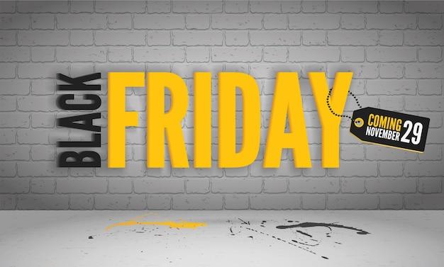Modèle de bannière vectorielle à venir vendredi noir. grande vente le 29 novembre annonce. inscription de remises en noir et jaune avec des taches de peinture sur le sol, mise en page de conception d'affiche de campagne promotionnelle à la mode