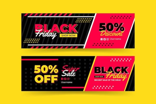 Modèle de bannière de vendredi noir noir et rose