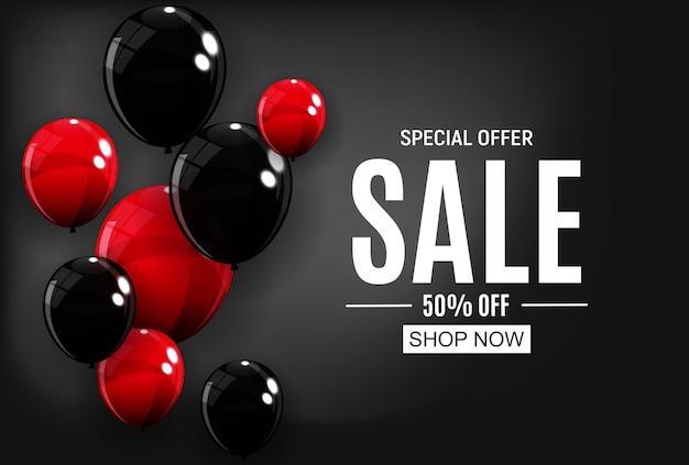 Modèle de bannière de vente abstrait avec des ballons. illustration