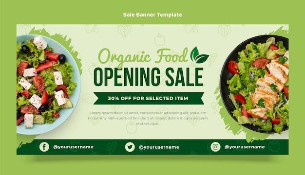 Modèle de bannière de vente d'aliments biologiques design plat