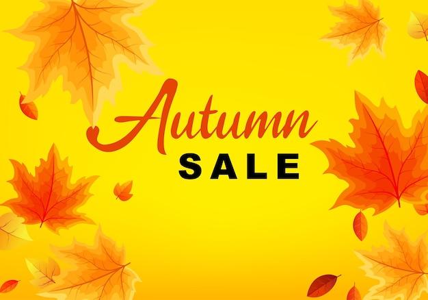 Modèle de bannière de vente d'automne avec des feuilles d'automne feuilles affiche carte étiquette illustration vectorielle vente bannière...