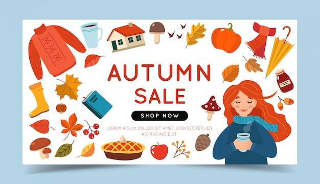 Modèle de bannière de vente automne avec une fille et différents éléments de l'automne.