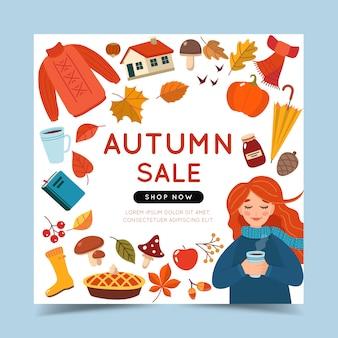 Modèle de bannière de vente automne avec une fille et des éléments de l'automne.