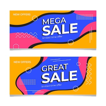 Modèle de bannière de vente coloré abstrait