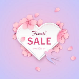 Modèle de bannière de vente, conception de coeur avec des fleurs