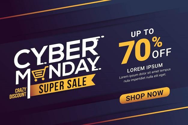 Modèle de bannière de vente cyber monday