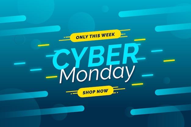 Modèle de bannière de vente design plat cyber lundi