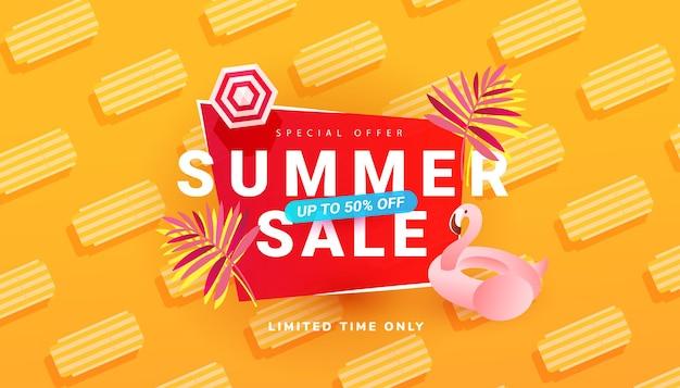 Modèle de bannière de vente d'été avec accessoires de plage
